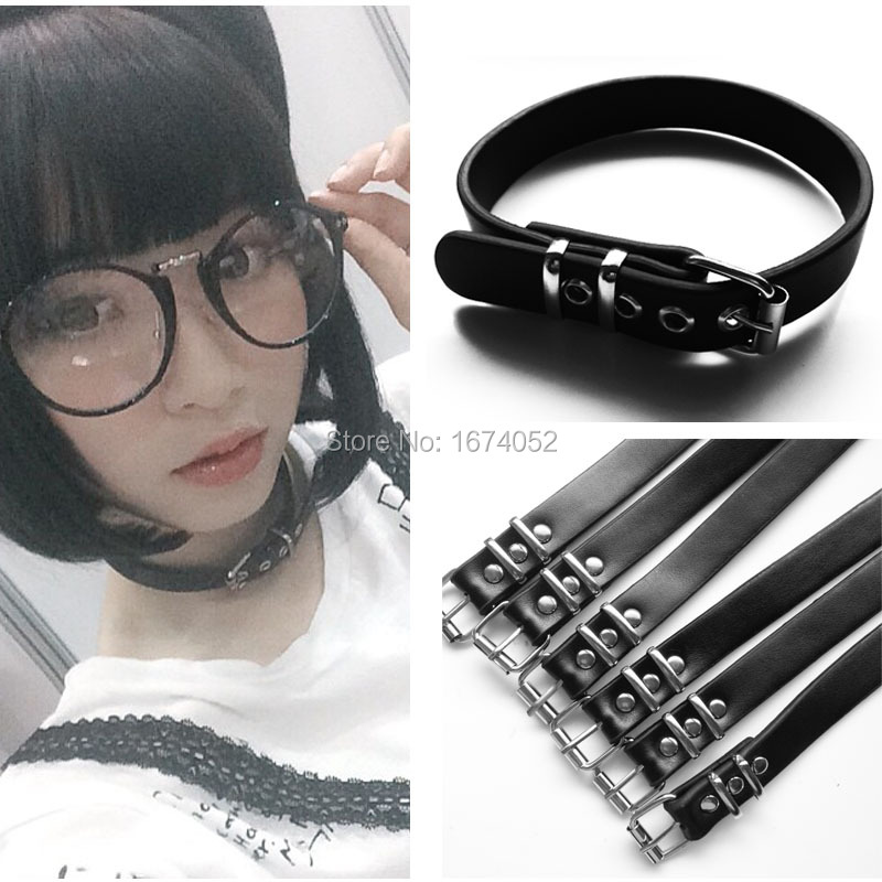 Girl Harajuku Cosplay Handmade Handcrafted Punk Gothic Real Leather Buckle Collar Choker Neclace ...
