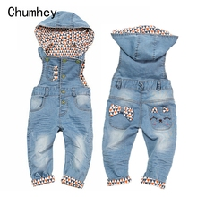 цены Top Quality 100% Cotton Infant Baby Overalls With Hat Cute Decoration Girls Boys Denim Jeans Jumpsuit Rompers Toddler Clothing