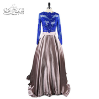 2017 New Fashion Sexy Two Piece Long Prom Dresses Royal Blue Lace Top Long Sleeves Sweep Train Formal Evening Party Gown