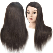 "Best Sell Female 18"" Cosmetology Mannequin Head Human Hair Professional Training Dolls Natural Hair Salon Hairstyles Mannequins(China)"