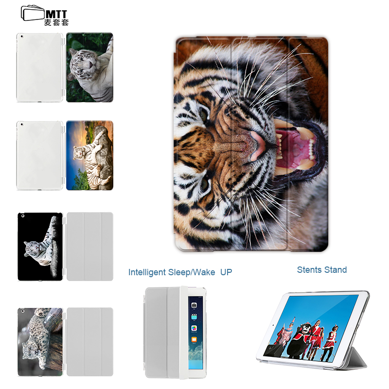 MTT Animal Tiger Design case for ipad air 2 leather smart cover for New ipad 9.7'' pu front pc transparent Stand Auto Sleep/Wake smart tiger