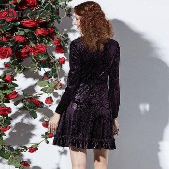 Women Gothic Dress Autumn Long Sleeve A-Line Hollow Robe Fashion Printed Velvet Vestidos Fabric Chic Party Elegant Dresses 3