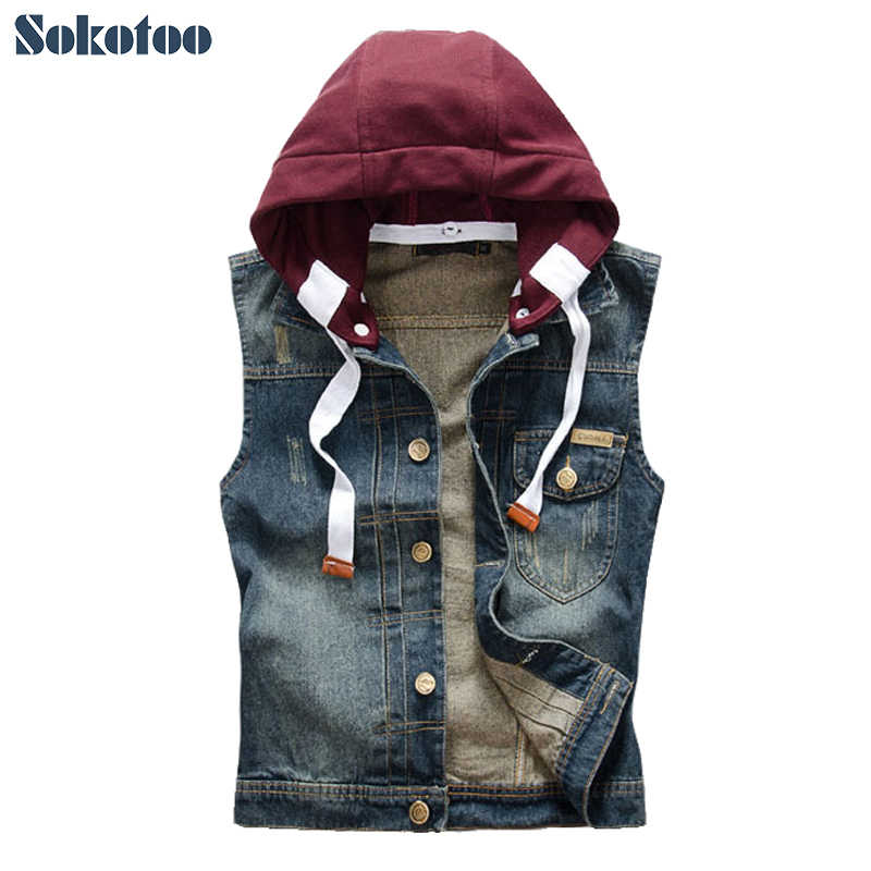 Sokotoo Men's 캐주얼 부착 가능하며 두건을 쓴 denim vest 남성 slim vintage dark blue coat 조 (top Hoodies