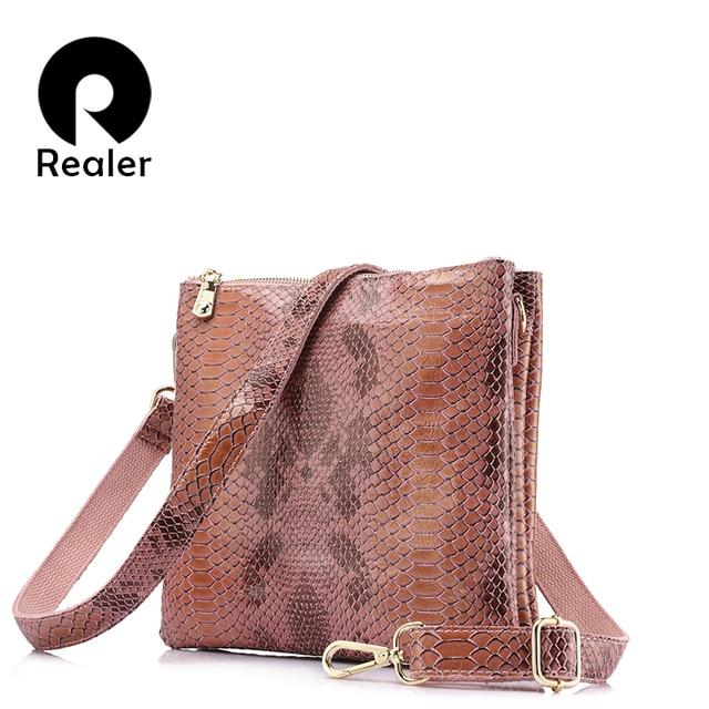 REALER brand new genuine leather shouder messenger bags female serpentine print leather handbag women small crossbody bags