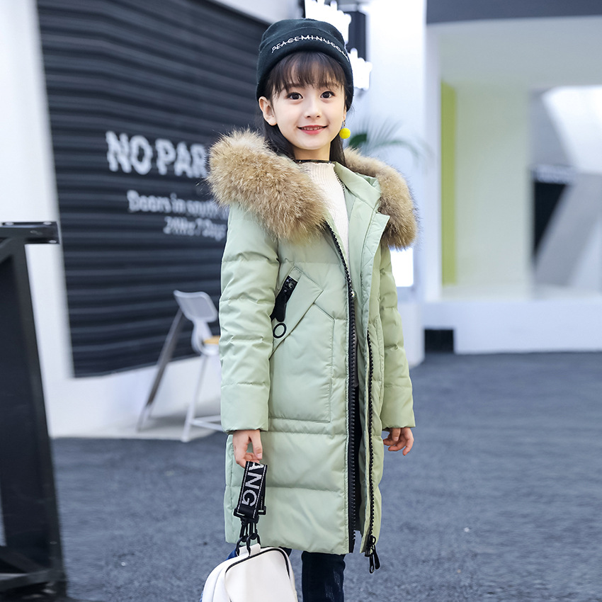 Girls Winter Coat Made of Duck Down Hooded Long Jackets Teenage Girls Winter Clothing 6 8