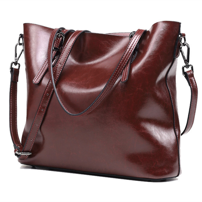 2018 New Brand Design European Fashion Style Cowhide Women's Handbag Luxury Oil Waxing Cow Leather Shoulder Messenger Bags
