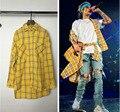 2016 Men's Extended Long Sleeve Shirts Men Hip Hop Plaid Longline Tee Shirt Homme Justin Bieber Purpose Tour Brand Clothing