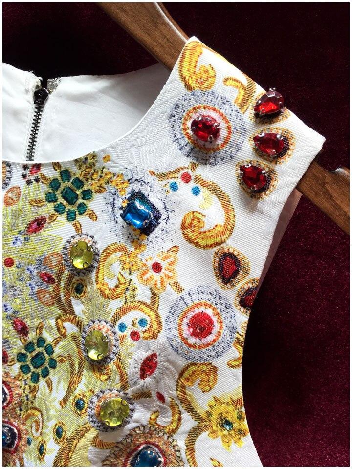 Wysokiej jakości kobiety projektant Runway sukienki 2018 nowy europejski w stylu Vintage drukowania ciężkie diamenty bez rękawów żakardowa sukienka w Suknie od Odzież damska na  Grupa 3