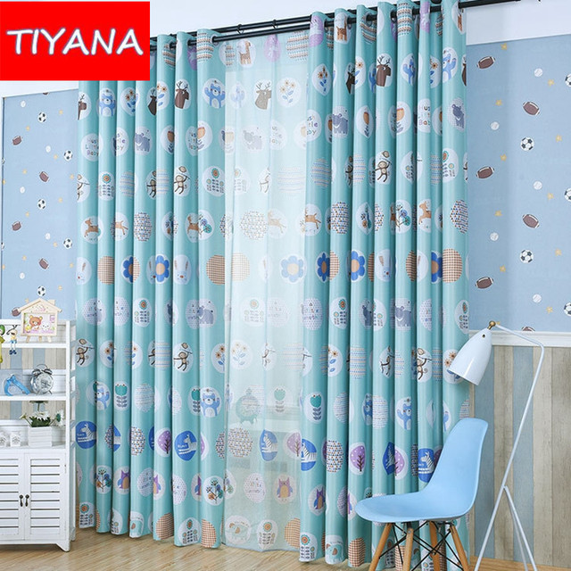 Eco friendly Window Curtains Cartoon Animals Forest Curtains For ...