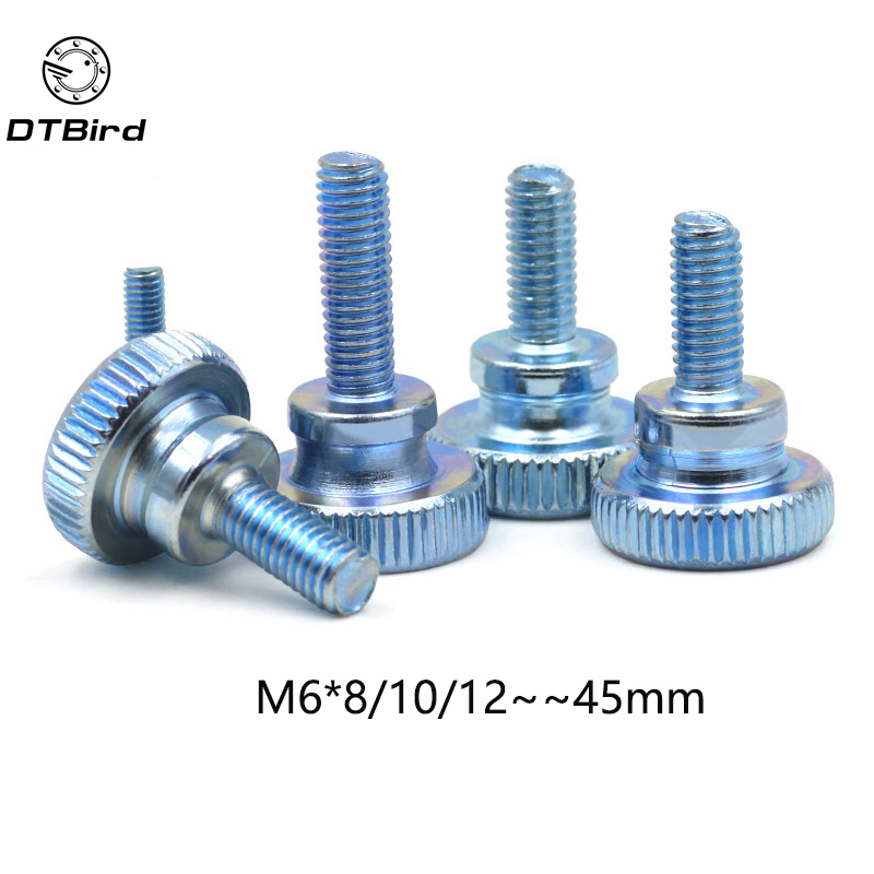 10pcs GB834 M6  M6*(8/10/12~45) MM Carbon Steel thumb screw with collar round head with knurling manual adjustment screws bolt10pcs GB834 M6  M6*(8/10/12~45) MM Carbon Steel thumb screw with collar round head with knurling manual adjustment screws bolt
