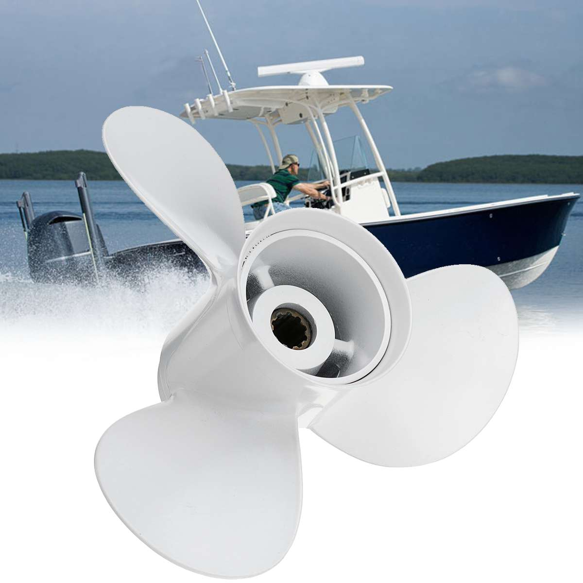 664-45952-00-EL 9 7/8 X 14 Aluminum Boat Outboard Propeller For Yamaha 20-30HP White 10 Spline Tooth 3 Blades R Rotation