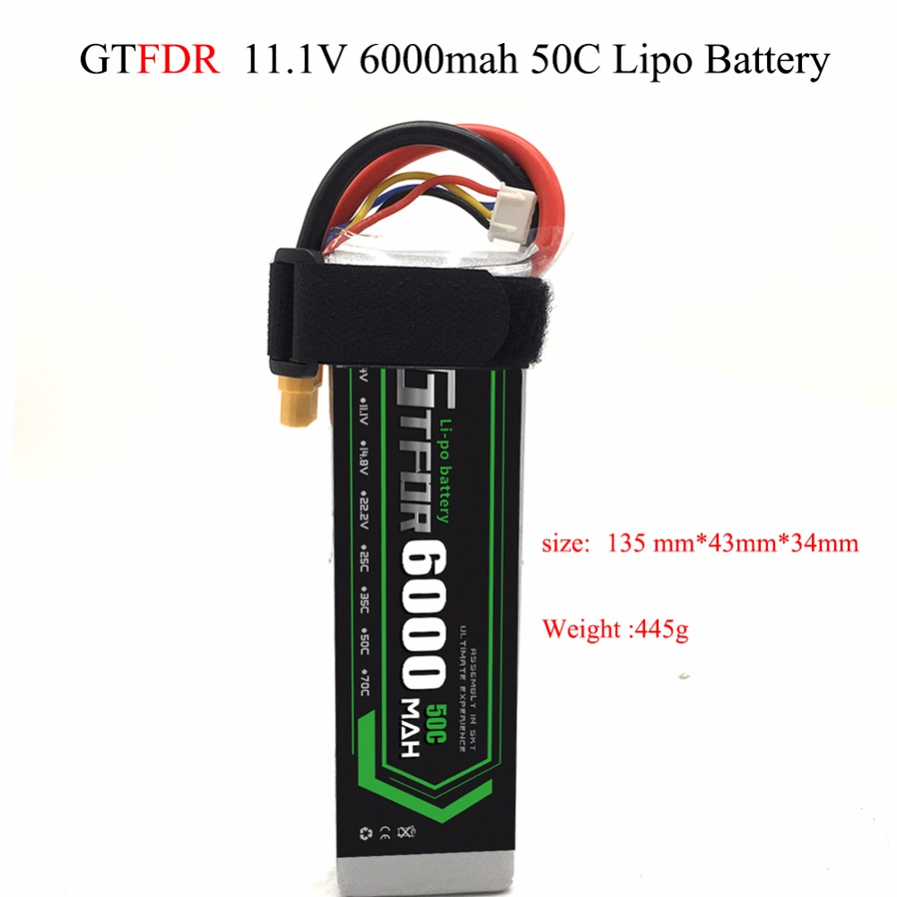 GTFDR 11.1V <font><b>6000mAh</b></font> 50C 100C <font><b>3S</b></font> RC <font><b>Lipo</b></font> <font><b>Battery</b></font> For Quadcopter Helicopter Traxxas Car axial scx-10 ii F450 Xmaxx Quadcopter 500 image