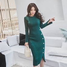 Женское осенне-зимнее длинное платье, элегантное женское Милое трикотажное платье с одной пуговицей, повседневные облегающие Женские платья высокого качества