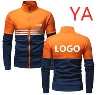YA Men's Design Print Logo Jackets Patchwork Casual Hoodies Uniform Baseball Slim For Man Clothing Coats Outwear Zip Garment Top