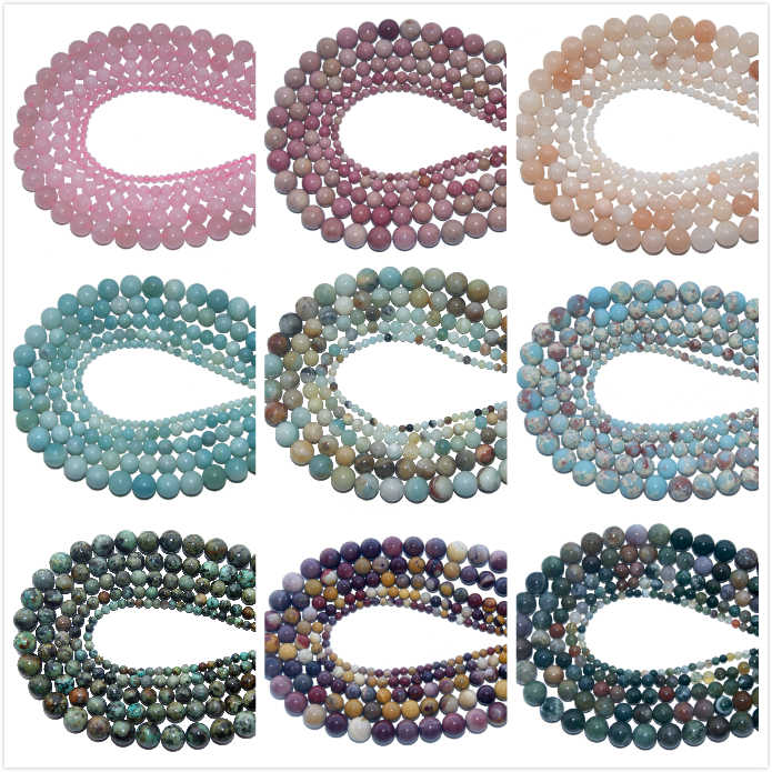 4 6 8 10 MM Natural Stone Beads agates Tiger Eye Lapis lazuli Amethysts Stone Beads For Jewelry Making DIY Bracelet Necklace