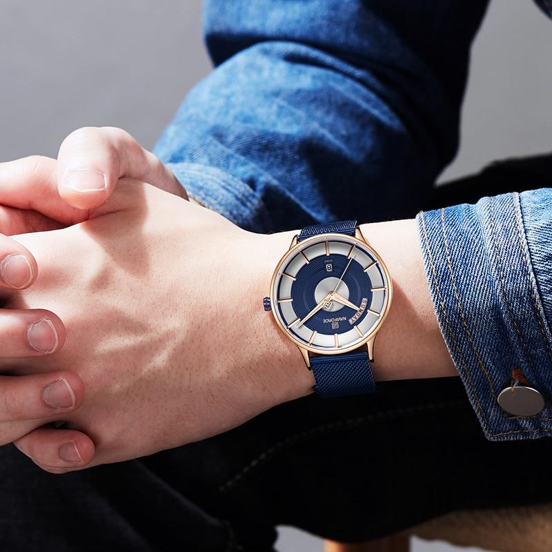 Image 2 - NAVIFORCE New Men Watch Mens Watches Top Brand Luxury Quartz Clock Male Sport Steel Mesh belt Wrist Watch relogio masculino 2019-in Quartz Watches from Watches