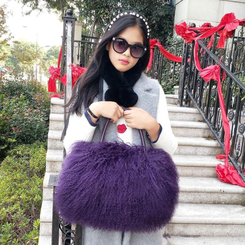 Winter Luxury Woman Real Fur Messenger Bag Big Size Real Wool Leather Handbags Fashion Bags For Ladies Women Tote Bag winter women real rex rabbit fur women tote bags female real fur genuine leather handbag ladies natural fur big shoulder bag sac