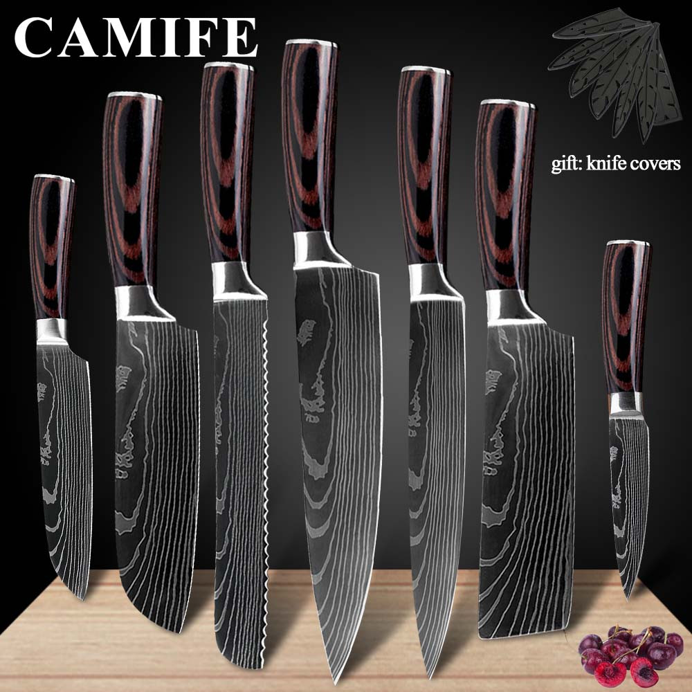 Stainless Steel Kitchen Knives Imitation Damascus Pattern Chef Knife Sharp Santoku Nakiri Cleaver Slicing Utility Knives Tool Stainless Steel Kitchen Knives Imitation Damascus Pattern Chef Knife Sharp Santoku Nakiri Cleaver Slicing Utility Knives Tool