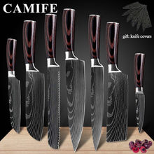 Stainless Steel Kitchen Knives Imitation Damascus Pattern Chef Knife Sharp Santoku Nakiri Cleaver Slicing Utility Knives Tool(China)