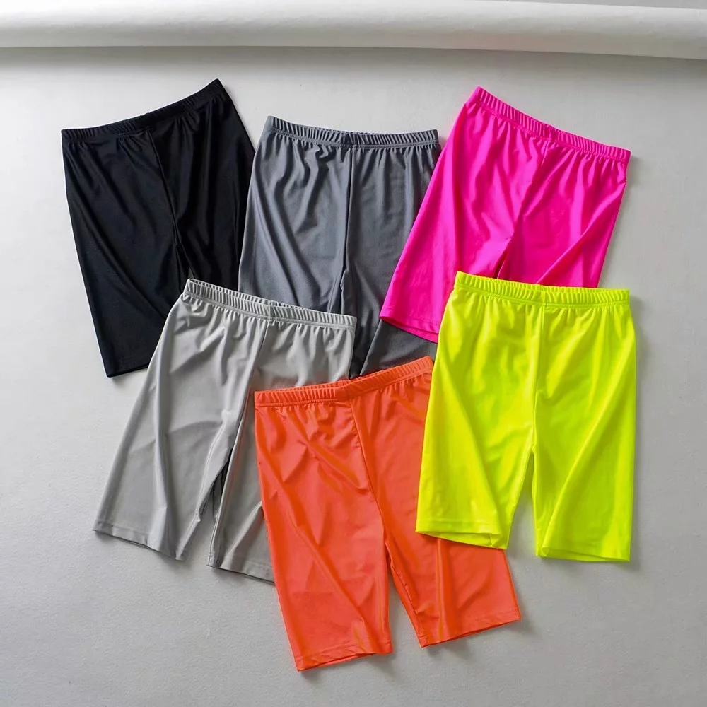 Pink black reflective shorts womens elastic high waist shorts summer shorts streetwear sweatpants jogger punk biker shorts 2019