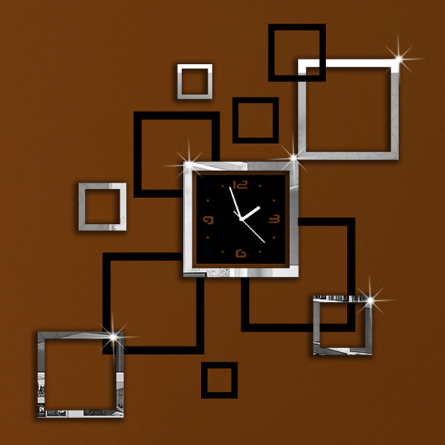Silver Black Squares Art Modern Luxury Design DIY Removable 3D Crystal  Mirror Frame Wall Clock Wall Sticker Bedroom Decor