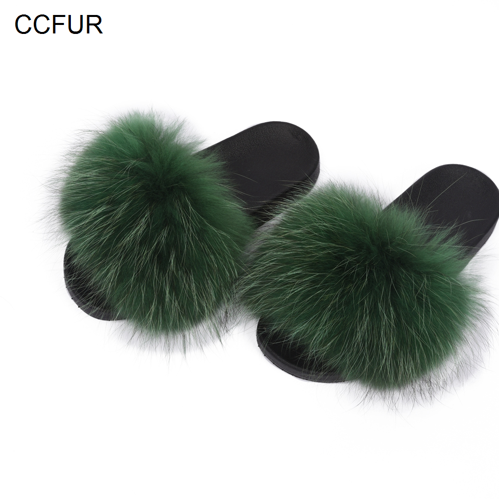 a093e66d871 2019 Fluffy Slippers Women Real Raccoon Fur Slides Sliders Shoes Spring  Autumn Winter Indoor S6020C
