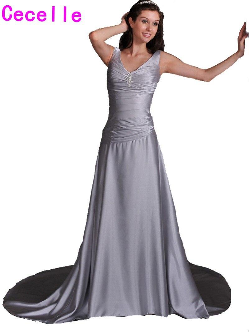 Sexy Einfache Lange Silber Grau Informellen Empfang Brautkleider ...