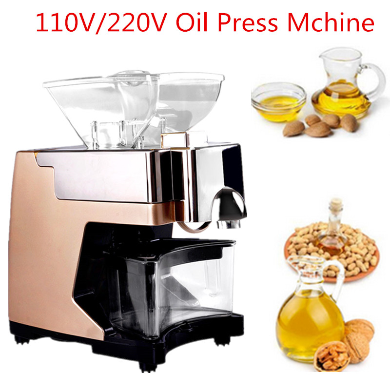 Full Automatic Nut Grape Seed Oil Expeller Cold Hot Press Machine Oil Extractor Dispenser 550W Canola Oil Press Machine mini automatic oil press machine commercial home oil extractor expeller presser hot and cold press seed oil making machine zf