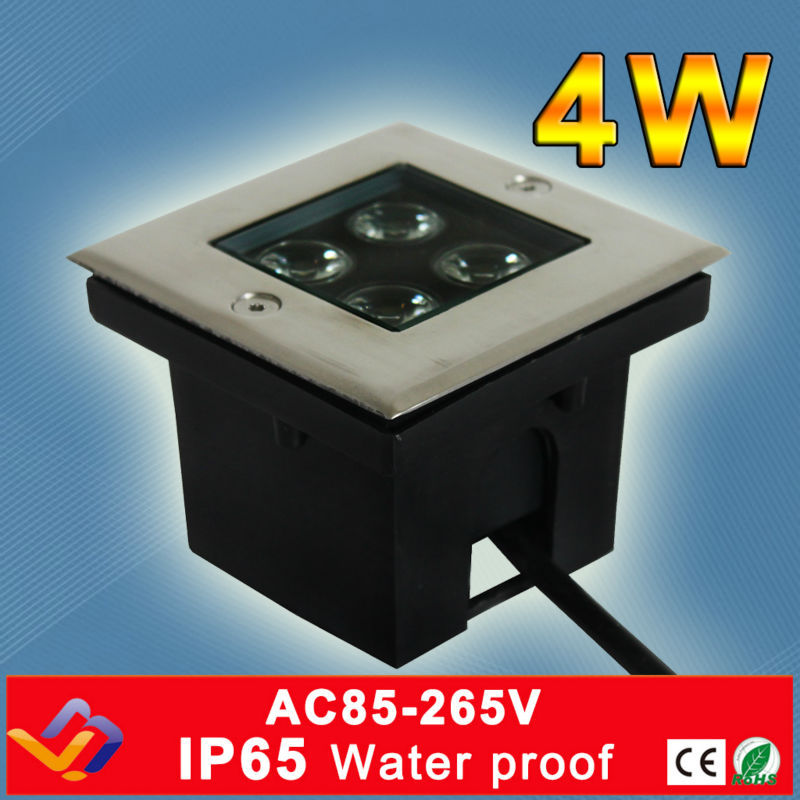 4 * 1w Square diketuai cahaya bawah tanah AC85-265V Cool / Warm White bar / stage / garden outdoor lighting 3 tahun warranty