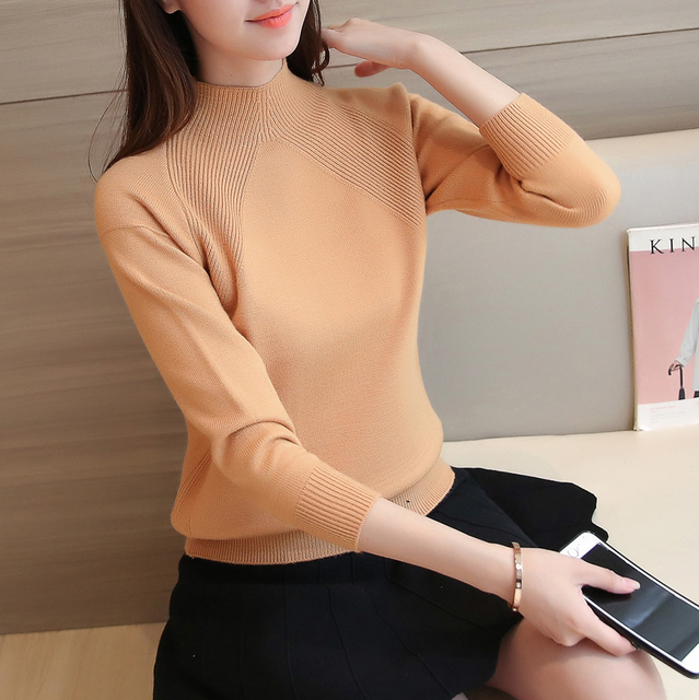 2348-semi base sólida de Corea camisa suéter 37 de cuello alto femenino