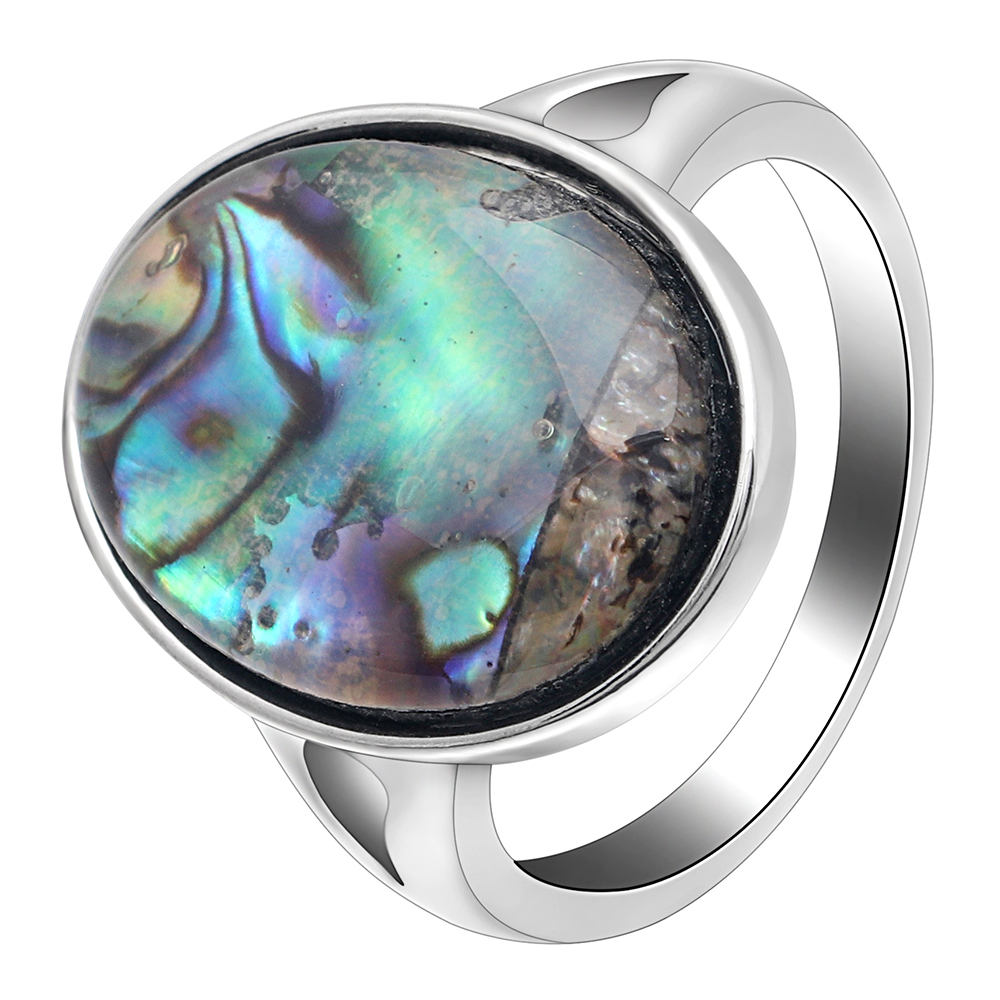 Shell-Ring Engagement-Ring Abalone Eternity Silver-Color Jewelry Romantic Wedding Women