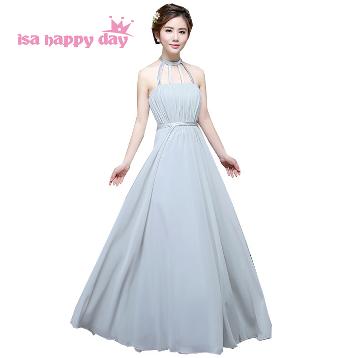 long chiffon grey halter neck elegant bridesmaid plus size ...