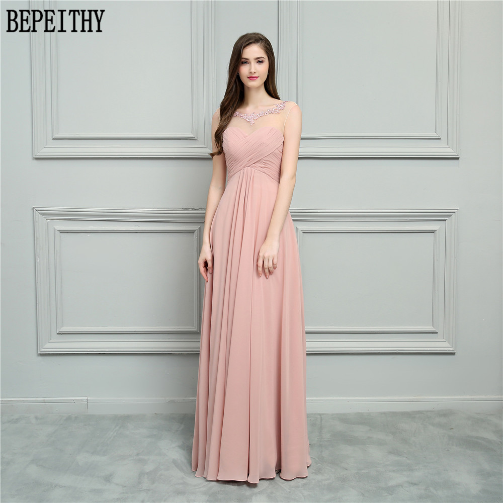 BEPEITHY New Arrival Vestido De Festa Longo Scoop Beads Applique Pleats Chiffon A-Line Prom Dresses Long Bridesmaid Dresses 2018