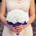1 pcs Glue Stick Purple and white Crystal Roses Pearl Bridal Bridesmaid Wedding Bouquet Artificial Silk Flowers with