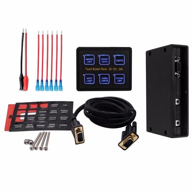 12V/24V 6 Gang LED Switch Panel Slim Touch Control Panel Box for Car Marine Boat Caravan Yacht Truck
