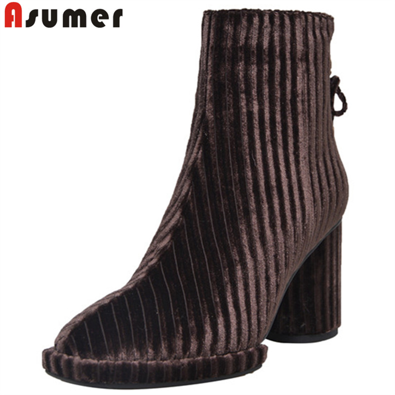 ASUMER 2019 hot sale new ankle boots women square toe square high heels shoes woman autumn ladies prom boots zipper  ASUMER 2019 hot sale new ankle boots women square toe square high heels shoes woman autumn ladies prom boots zipper