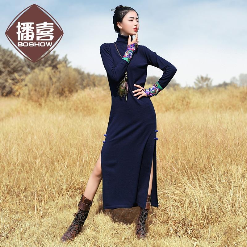 Envío Gratis nueva moda 2019 vestidos largos de media pantorrilla para mujer invierno cálido estilo chino cuello alto bordado vestidos
