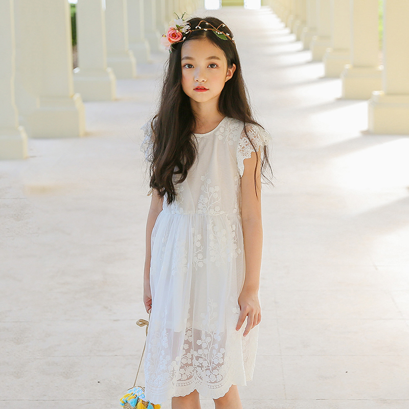 white lace flower girl dresses for weddings girl party dress princess baby clothing new 2018 spring summer kids girls clothes 2017 new summer clothes for girls lace dress baby princess dress white short sleeved hollow dresses children s clothing girl