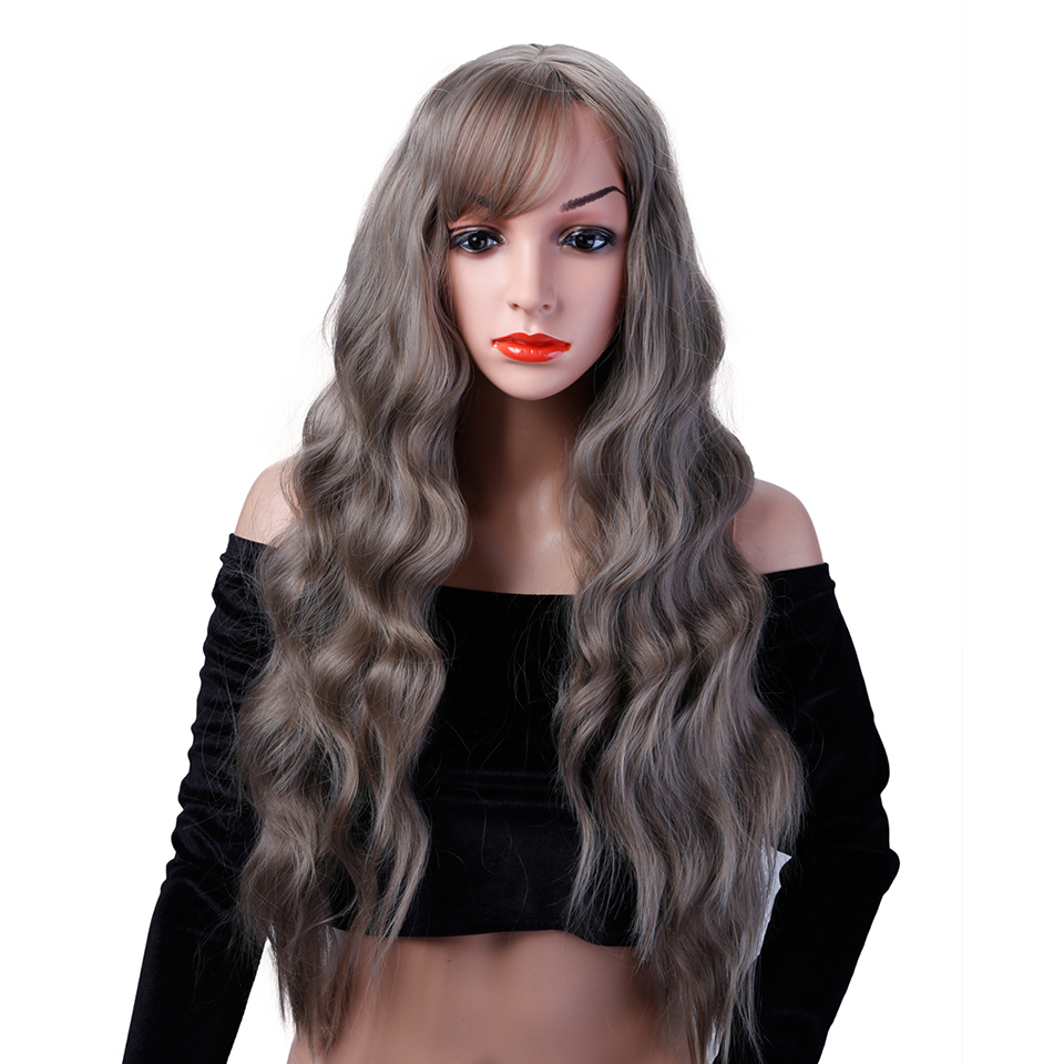 Allaosify Long Wavy gray Wig Womans Heat Resistant Synthetic Female Wigs For Black White Women Fake Hair Pieces