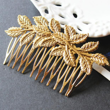 New Trendy Gold Leaf  Bridal Hair Combs Hairpin Tiara Wedding Jewelry  Women Hair Accessories Hair Jewelry Wholesale 10 Pcs