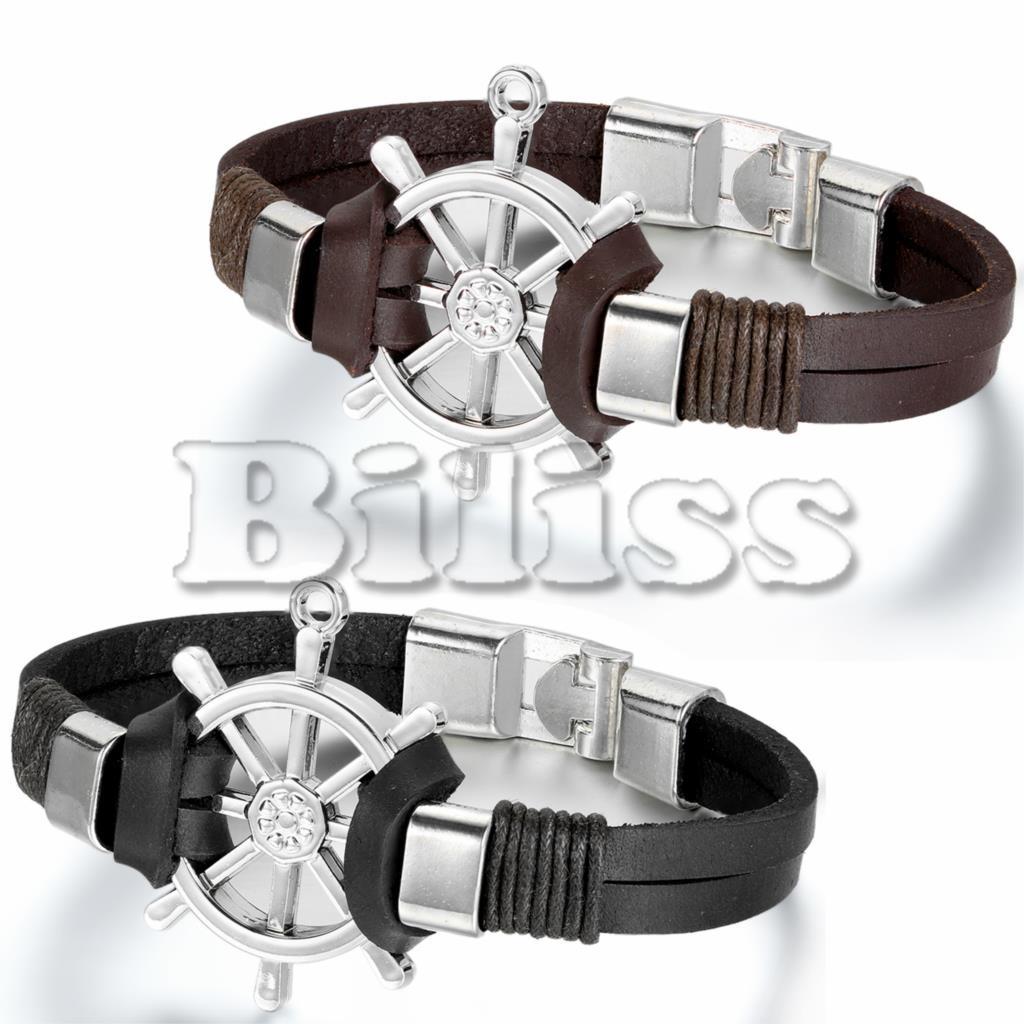 23cm Men Jewelry Pirate Style Leather Rudder Bracelet Wholesale Cuff braided Wrap Bracelet & Bangles Black / Brown Colors
