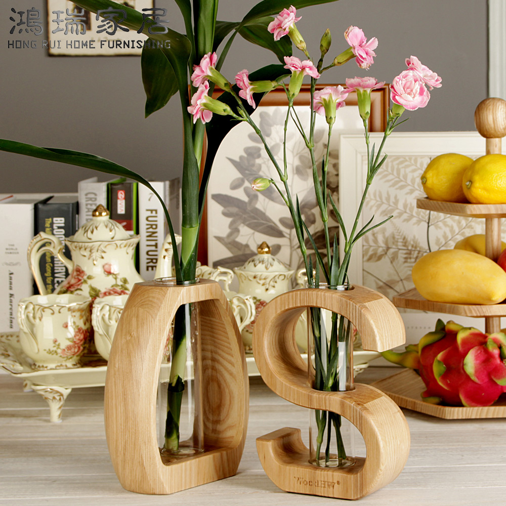 What Is Home Decoration: Home Decor Creative Wood And Glass Vase Water Planting