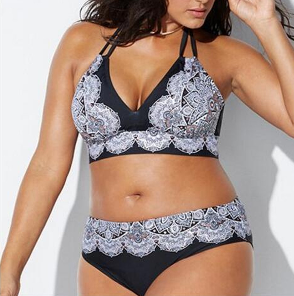 ALI shop ...  ... 32973582485 ... 1 ... Women Plus Size Bandage Bikini Set Lace Flower Printing Padded Bra Bikini Split Large Size Body Swimsuit Beachwear Bikinis ...