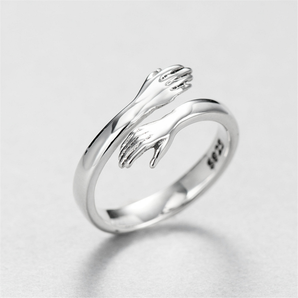 MloveAcc Brand Creative Hug Hands Embrace Open Rings for Women Romantic Style Couple 925 Sterling Silver Jewelry