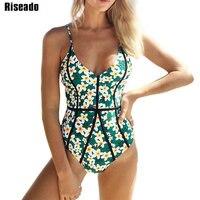 Riseado 2018 Sexy Swimwear Women Floral Printed One Piece Swimsuit Female Strap Halter Swim Wear Padded