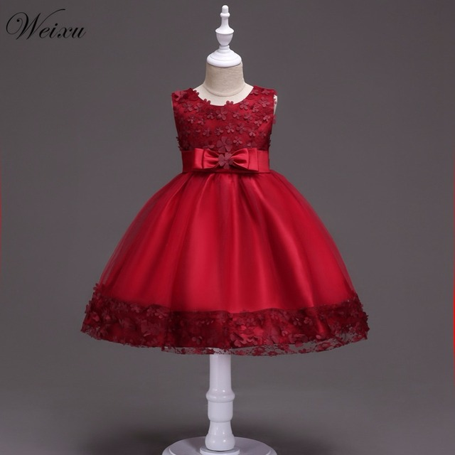 cbad9bd79 Weixu Girls Red Christmas Dresses Kids Formal Flower Princess Dress  Birthday Party Events Prom Dress for Baby Girl 1 2 4 8 Years