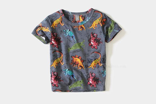 Lo nuevo Dinosaurio Embroma la Camisa de Algodón de Manga Corta Niños Camisetas para Niños Ropa Tops Estilo Camiseta de Verano Envío Gratis TA40