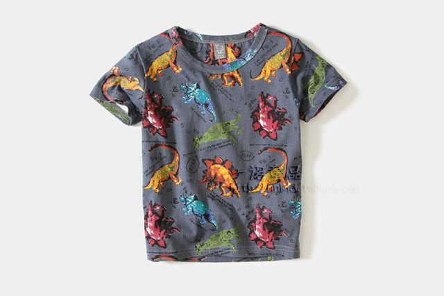 Newest Dinosaur Shirt Kids Cotton Short Sleeve Children Tees for Boys Clothes Tops Summer Style Tshirt Free Shipping TA40