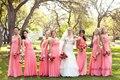 2014 el más nuevo diseño del amor romántico Coral Pink larga de la gasa sin respaldo piso longitud dama de honor vestidos