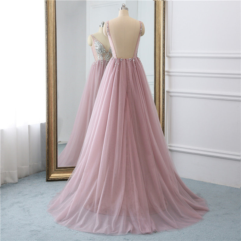 Sexy Tulle Long Prom Dresses 2019 New Arrival Backless Sweep Train Beaded A Line Special Occasion